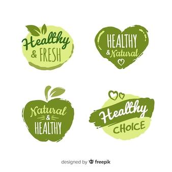 Insieme di logo di cibo sano disegnato a mano