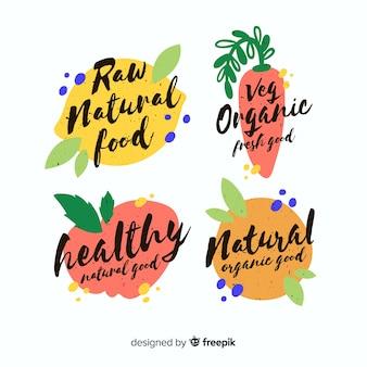 Insieme di logo di cibo sano vintage