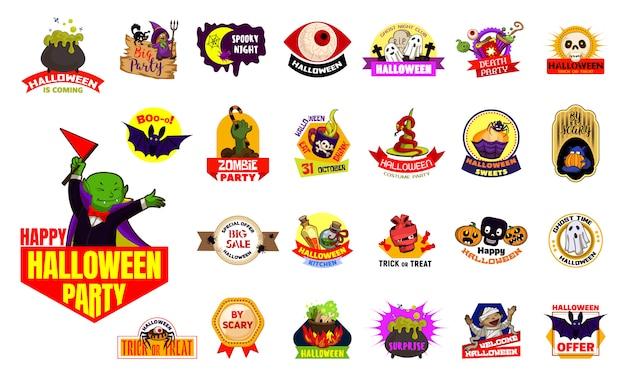 Insieme di logo di halloween