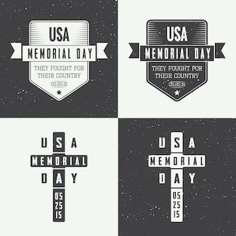 Insieme di logo di memorial day
