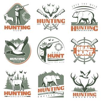 Insieme di logo di real hunt