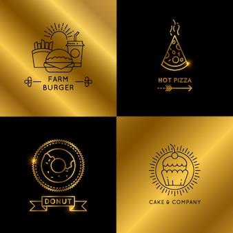 Insieme di logo di ristorante e caffetteria fast food nero e dorato