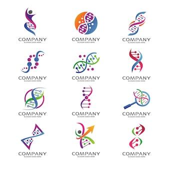 Insieme di logo di scienza e ricerca del dna