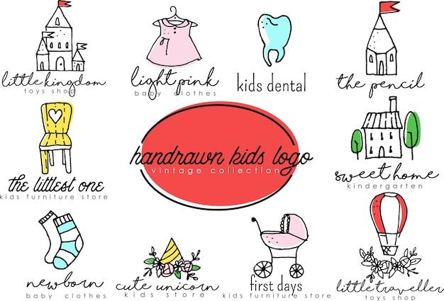 Insieme di logo disegnato a mano per bambini