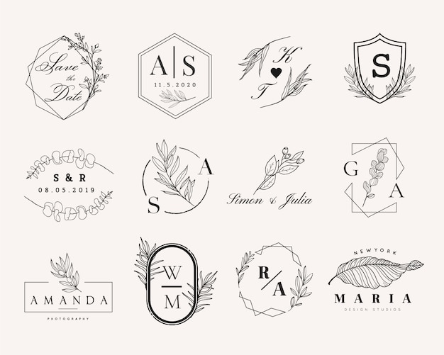 Insieme di logo femminile e matrimonio