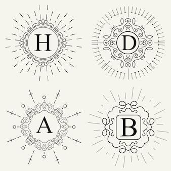Insieme di logo vettoriale monogramma vintage.