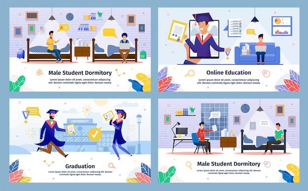 Insieme di manifesti di vettore piano di istruzione degli studenti di college