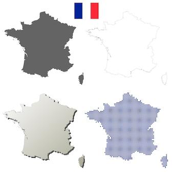 Insieme di mappa di contorno vettoriale francia