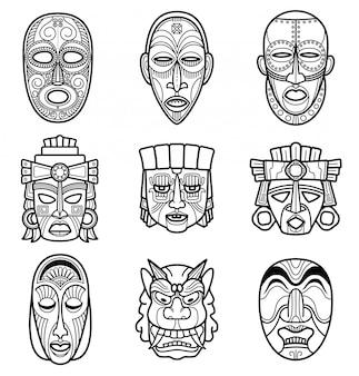 Insieme di maschera tribale storico indiano azteco e africano. illustrazione di vettore di maschere di viso nativo