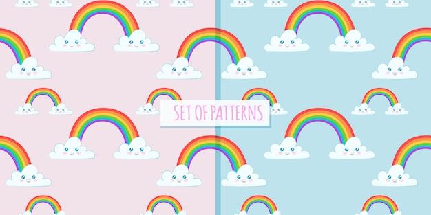 Insieme di modelli carini con arcobaleno