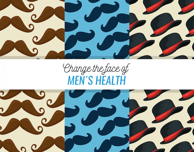 Insieme di modelli di baffi e cappello maschile