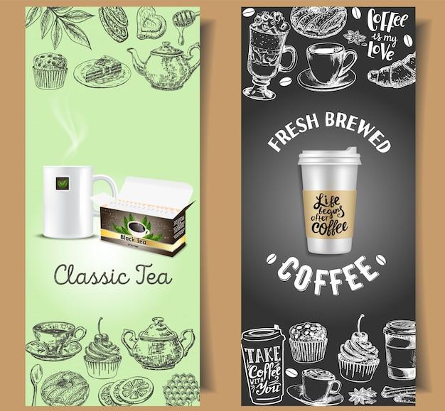 Insieme di modelli di banner da tè e caffè da asporto