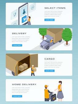 Insieme di modelli di banner isometrico di consegna online. consegna a domicilio, spedizione veloce