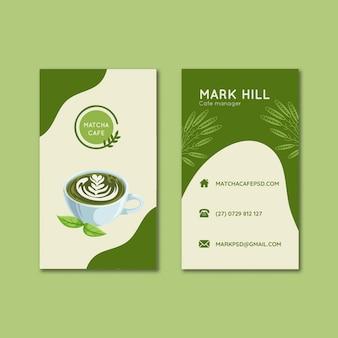 Insieme di modelli di biglietti da visita verticali di tè matcha