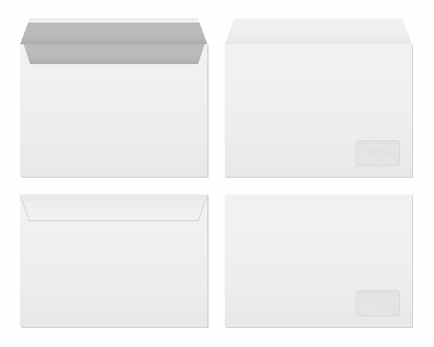Insieme di modelli di buste di carta bianca bianca.
