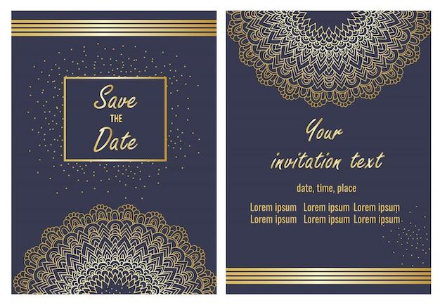 Insieme di modelli di carta di invito a nozze