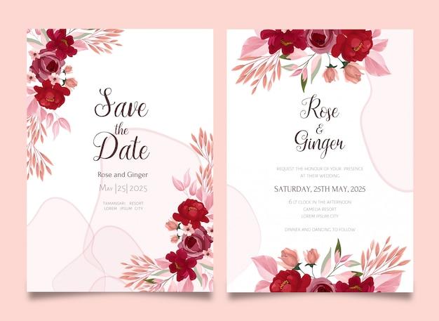 Insieme di modelli di carta set invito matrimonio floreale bella