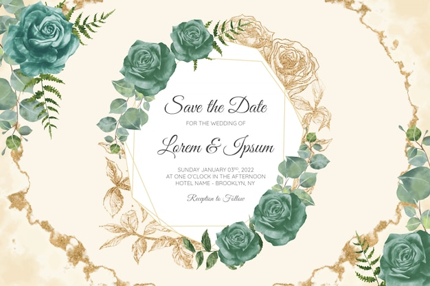 Insieme di modelli di carte di invito matrimonio floreale