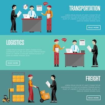 Insieme di modelli di consegna e logistica banner