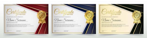 Insieme di modelli di diploma di miglior premio del certificato di appartenenza.