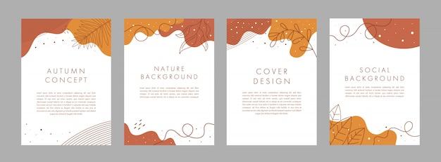 Insieme di modelli di disegno astratto creativo copertina universale