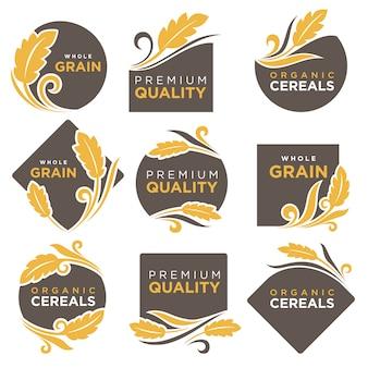 Insieme di modelli di icone vettoriali di prodotti biologici di cereali