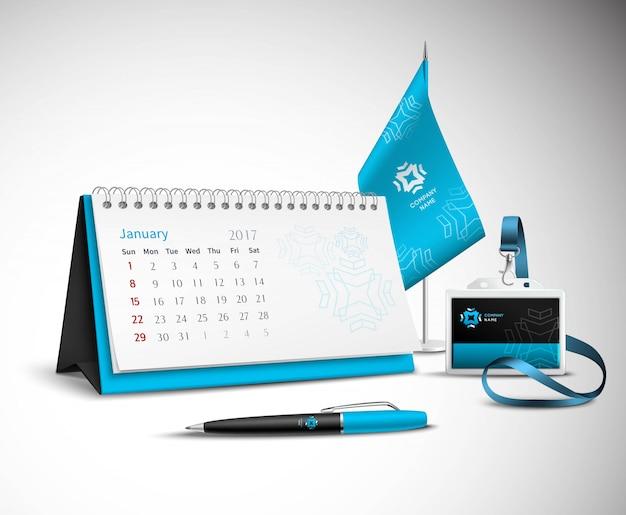 Insieme di modelli di identità aziendale di calendario