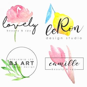 Insieme di modelli di logo dell'acquerello