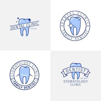 Insieme di modelli di logo di contorno blu clinica odontoiatrica