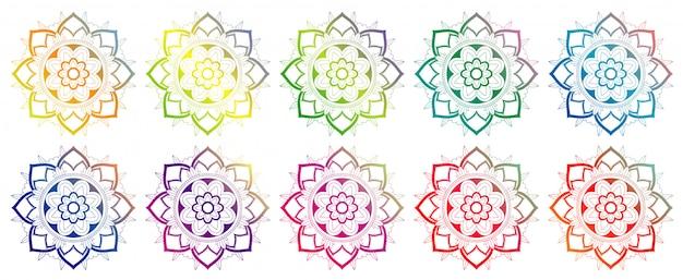 Insieme di modelli di mandala in molti colori