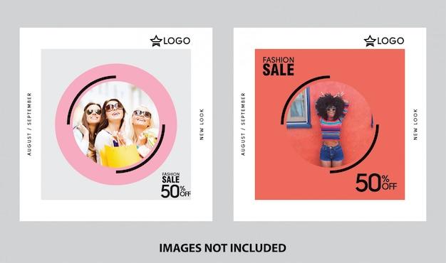Insieme di modelli di mezzi di comunicazione sociale di vendita dello shopping di moda
