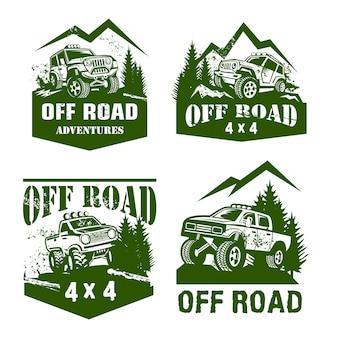 Insieme di modelli di off road logo