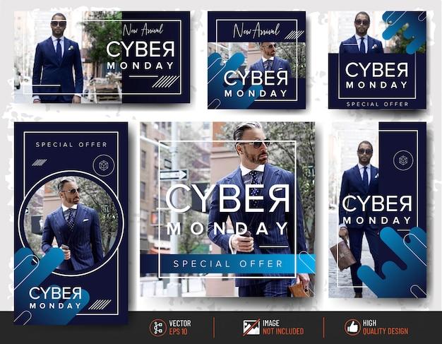 Insieme di modelli di post di instagram cyber lunedì