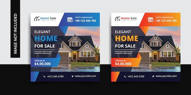 Insieme di modelli di post social media immobiliare
