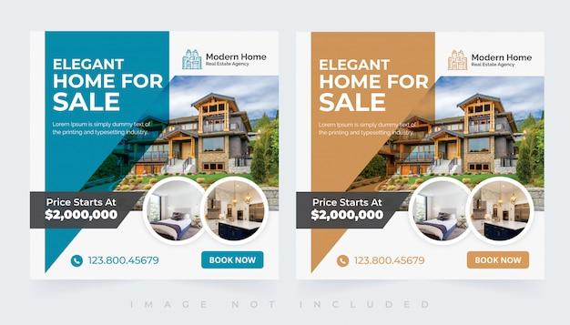 Insieme di modelli di posta sociale insta casa immobiliare moderna elegante