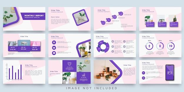 Insieme di modelli di presentazione decorazione rosa