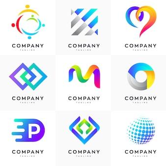 Insieme di modelli di progettazione logo moderno, logo astratto set, logo colorato set, set modello minimalista logo design