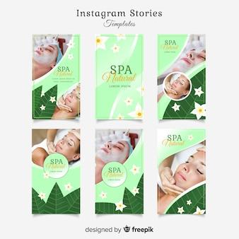 Insieme di modelli di storie instagram spa