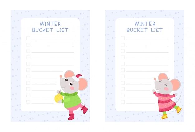 Insieme di modelli di vettore piatto di liste secchio di inverno. pack di disegni di pagine planner per bambini settimanali e giornalieri.