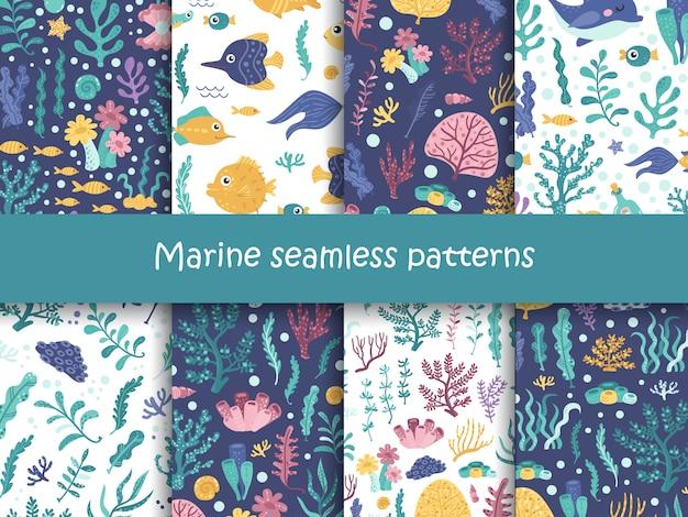 Insieme di modelli senza soluzione di continuità con alghe e animali marini.