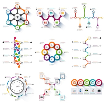 Insieme di modello di disegno di vettore di infographics