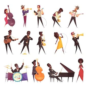 Insieme di musica jazz di icone isolate con personaggi umani in stile cartone animato di musicisti che suonano strumenti diversi