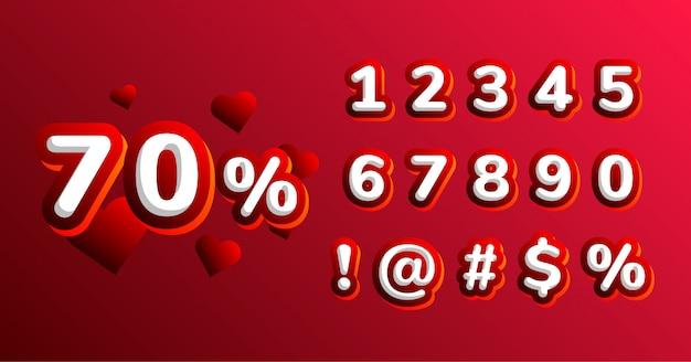 Insieme di numero del carattere della decorazione di san valentino