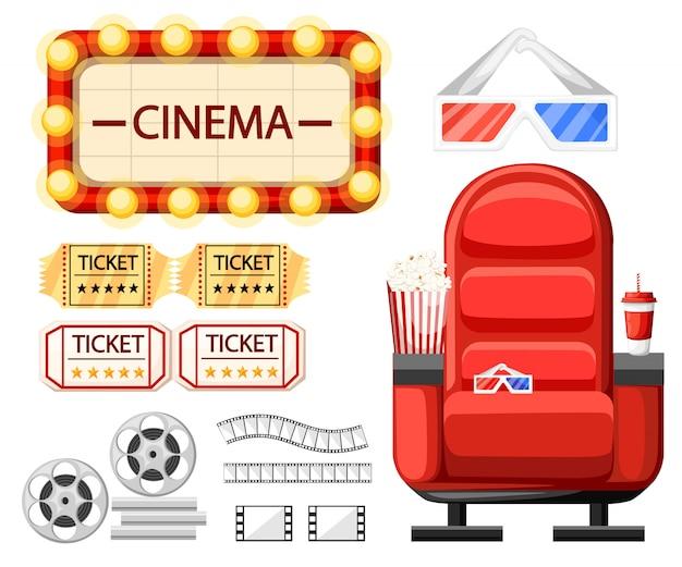 Insieme di oggetti del cinema. sede del cinema, bicchieri, biglietti, rullino, bobina e striscia. nastro cinematografico attorcigliato. stile cartone animato. illustrazione su sfondo bianco. pagina del sito web e app