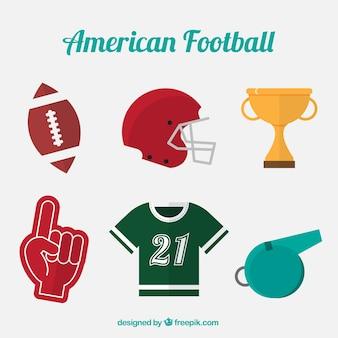 Insieme di oggetti di football americano in design piatto