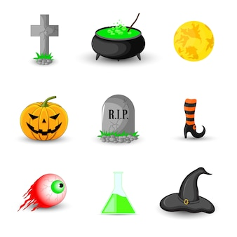 Insieme di oggetti di halloween su sfondo bianco
