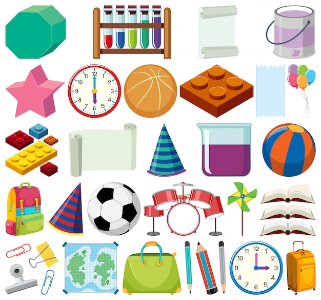 Insieme di oggetti di scuola tema oggetti isolati