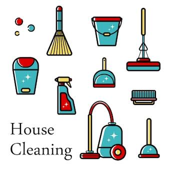 Insieme di oggetti icone di pulizia della casa