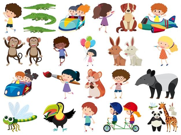Insieme di oggetti isolati di bambini e animali