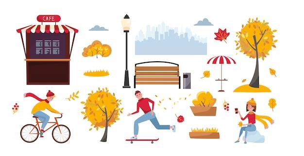 Insieme di oggetti per il parco d'autunno. l